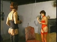 Deep fisting of a submissive cross dressing slut