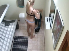 Blonde Hottie Secretely Masturbating in Public Solarium
