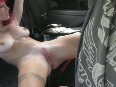 Big titted punk girl stuffed a driver at the backseat of a cab