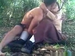 Cute asian girl has cowgirl and missionary sex in the forest