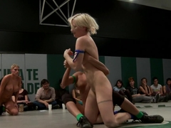 5 girl squirt fest! Losers get dominated by the winners AND the ref!!!