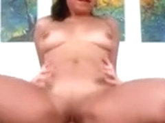 Real Hot Brunette Babe Riding On Cock