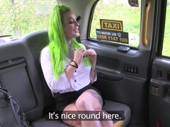 Green-haired punk slut gets fucked in the cab