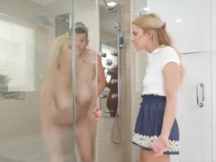 Stepmom And Teen Nasty Threesome Session In The Shower