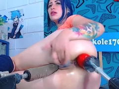 Blue Haired Babe Distroys Her Asshole