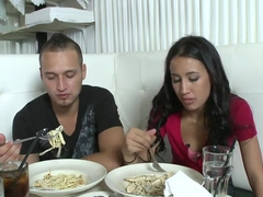 Hot dinner with sexy chick Amia Miley