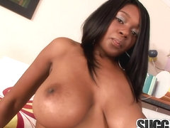 Juicy Ebony Baby Cakes Gets Cum on Her Big Tits After a Rough Pummeling