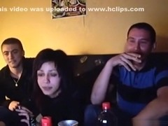 Serbian slut fucks 2 friends on the sofa in a threesome
