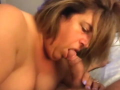 Sucking hubby's cock and swallowing every drop