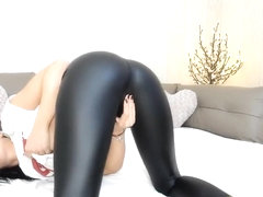 Hot Leather Ass Recieving pleasure with a toy on Webcam [Part 1]