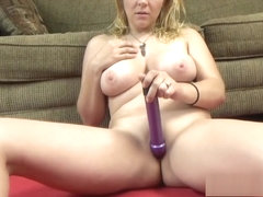 Busty babe Brianna Stars stuffs a toy inside her young twat