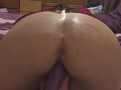 Finally she agrees to film herself masturbating doggy style