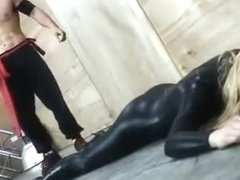 Girl in wetlook catsuit defeated by man - Mixed fight to death