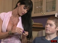 Brunette hot MILF Eva Karera rides her stepson hard prick in the couch