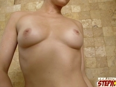 Stepmom deeply sucks a big cock and let him pounds her tender pussy