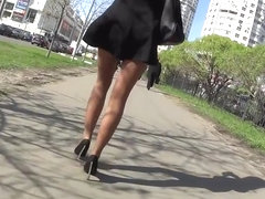 Candid woman in pantyhose train and walking