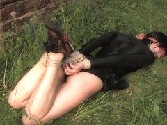 Outdoor Hogtied in Spandex