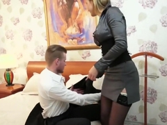 Sexy blonde courtesan gets some cum on her belly