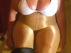 Spandex Angel - Oiled up big tits & shiny pantyhose