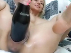 Bottle stuck inside pussy for mad