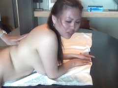 Dude Drenches Asian's Butt in Oil Before Drilling in