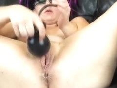 brutal meaty pussy stretching with XXL inflatable dildo and buttplug
