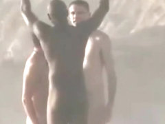 THREE NUDE MEN AT BEACH WITH NICE ERECTIONS