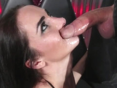 Throatfucked sub gagging on cock balls deep