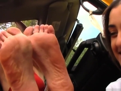Outside girl/girl/guy foot worship