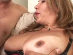 Lingerie tranny tugging fat dick before anal