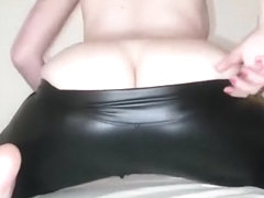 Farts in skin tights leather leggings