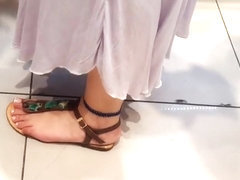 filming her big yummy feets french pedicured toes