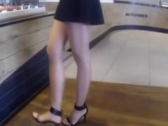 shiny tan pantyhose long legs high heels at fast food outdor