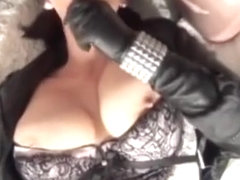 Leather gloves blowjob compilation