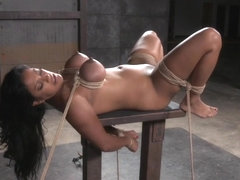 Breastbonded exotic sub caned on bigtits
