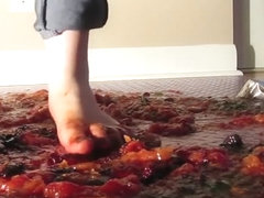 Crushing Jello and fruit barefoot