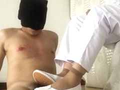 asian nurse cock trampling with shoejob and footjob